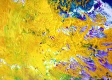 La viola rosa gialla blu macchia i colori pastelli, il fondo acrilico dell'acquerello della pittura pastello luminosa, struttura  fotografia stock libera da diritti