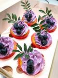 La violette fourrent le petit g?teau photographie stock
