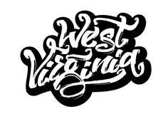 La Virginia dell'Ovest Programma di rilievo protetto autoadesivo Iscrizione moderna della mano di calligrafia per la stampa di se Fotografia Stock Libera da Diritti
