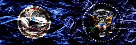 La Virginie contre les drapeaux colorés de fumée de concept de Président des États-Unis placés côte à côte illustration de vecteur