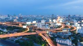 La visión aérea, carretera de la ciudad de Bangkok sobre residencia es Imágenes de archivo libres de regalías