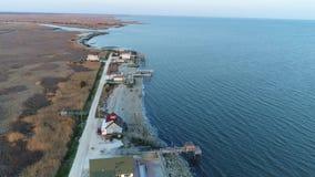 La visión aérea Delaware Bayfront contiene New Jersey almacen de video