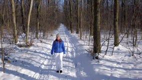 La visión desde la altura a la mujer en ropa caliente da un paseo a lo largo de una trayectoria entre el paisaje nevado del invie almacen de metraje de vídeo