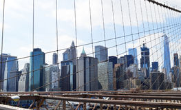 La visión desde el puente de Brooklyn fotografía de archivo