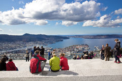 La visión desde fløyen en Bergen Fotos de archivo libres de regalías