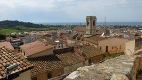 La visión desde la fortaleza en Calafell foto de archivo libre de regalías