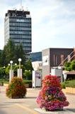 La visión en el alto edificio administrativo de Agencias Estatales de la flor adornó el centro de ciudad Fotografía de archivo