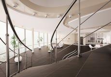 La visión interior moderna desde la escalera 3d rinde Fotos de archivo libres de regalías