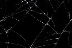 La visión superior agrietó el fondo de cristal de la textura de la pantalla móvil quebrada Foto de archivo