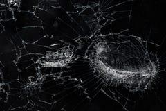 La visión superior agrietó el fondo de cristal de la textura de la pantalla móvil quebrada Foto de archivo libre de regalías
