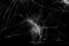 La visión superior agrietó el fondo de cristal de la textura de la pantalla móvil quebrada imagen de archivo