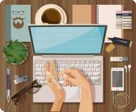 La visión superior con la tabla texturizada, ordenador, ordenador portátil, cuaderno, pluma, teléfono móvil, auriculares, manos,  libre illustration