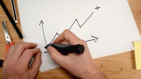 La visión superior, la mano de un hombre de negocios dibuja un gráfico que entre valor positivo, ideal de la cantidad para los te almacen de video