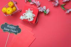 La visión superior tiró de Año Nuevo chino de la decoración del arreglo y de fondo del festival lunar Foto de archivo libre de regalías