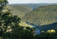 La visión desde pasa por alto en la colina WMA de la serpiente en WV Imágenes de archivo libres de regalías