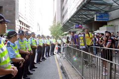 La visita del arranque de cinta chino chispea protestas en H.K. Fotografía de archivo libre de regalías