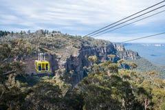 La visite de manière de ciel de câble aux montagnes bleues parc national, Nouvelle-Galles du Sud, Australie Photographie stock libre de droits