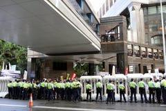 La visite du Chef chinois suscite des protestations dans H.K. Image libre de droits