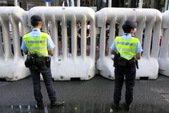 La visite du Chef chinois suscite des protestations dans H.K. Photo libre de droits