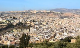 La vista aérea de la ciudad Medina de la ciudad de Fes en Marruecos Fotos de archivo