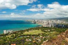 La vista aérea de Honolulu y Waikiki varan de Diamond Heat fotos de archivo