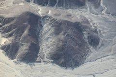 La vista aérea de Nazca alinea - el geoglyph del astronauta, Perú Imagen de archivo