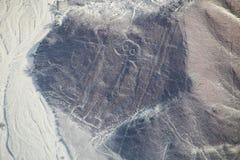 La vista aérea de Nazca alinea - el geoglyph del astronauta, Perú Fotos de archivo