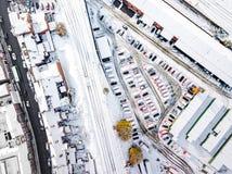 La vista aérea de la nieve comprometió las redes de carreteras del carril y  Imagenes de archivo