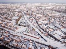 La vista aérea de la nieve comprometió las redes de carreteras del carril y  Imágenes de archivo libres de regalías