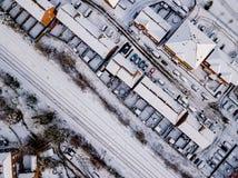 La vista aérea de la nieve comprometió las redes de carreteras del carril y  Imagen de archivo libre de regalías