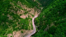 La vista aérea del abejón sobre el camino de la montaña y las curvas que van a través del bosque ajardinan almacen de video