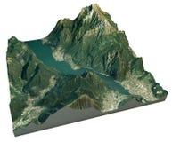 La vista aerea del lago di Lecco e la zona circostante tracciano in 3d Fotografie Stock