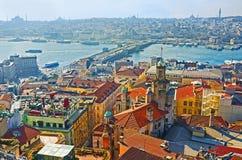 La vista aerea del ponte di Galata Immagine Stock