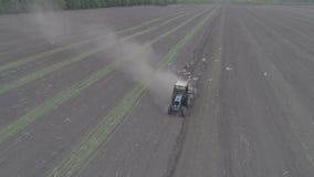 La vista aerea del trattore guida attraverso il campo e le piantine delle materozze stock footage