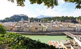 La vista aerea della città di Salisburgo, Austria Fotografia Stock