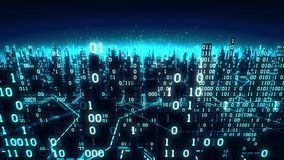 La vista aerea della città digitale futuristica astratta, un fondo alta tecnologia con le matrici binarie si è collegata alla ret video d archivio