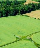 La vista aerea della strada e dell'agricoltura del villaggio sistema con la foresta Immagini Stock Libere da Diritti
