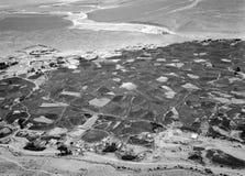 La vista aerea di agricoltura biologica autosufficiente della valle di Zanskar sui raccolti sistema Immagine Stock