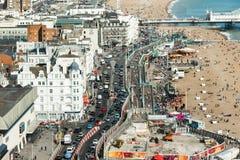 La vista aerea di Brighton, carreggiata è resa più stretto dovuto lavoro sviluppato Fotografia Stock