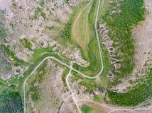 La vista aerea di Dobrogea si rimpinza di vicino al delta Dunari e Costanza R fotografie stock