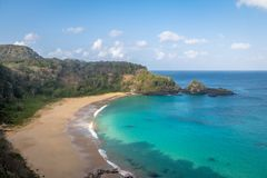 La vista aerea di Praia fa Sancho Beach - Fernando de Noronha, Pernambuco, Brasile fotografie stock