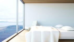 La vista al mar moderna/3d del dormitorio rinde imagen Fotografía de archivo libre de regalías
