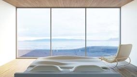 La vista al mar moderna/3d del dormitorio rinde imagen Imágenes de archivo libres de regalías