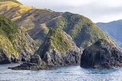 La vista al Marlborough suena, Nueva Zelanda fotografía de archivo