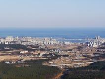 La vista alla città di Sokcho dal picco Fotografia Stock Libera da Diritti
