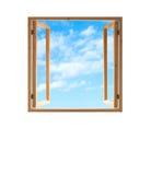 La vista aperta del cielo della struttura di legno della finestra ha isolato il bianco Fotografie Stock Libere da Diritti