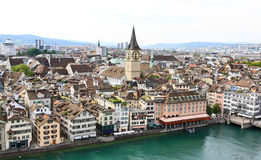 La vista aérea del paisaje urbano de Zurich Imágenes de archivo libres de regalías
