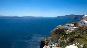 La vista dai terrazzi Santorin Immagini Stock Libere da Diritti