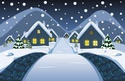 La vista dal piccolo ponte di pietra al villaggio nevoso di notte illustrazione di stock