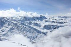La vista dal Rothorn 3.103 m. montra gli più alti picchi delle alpi svizzere Il Valais, Switzerland Fotografie Stock Libere da Diritti